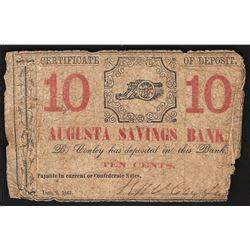 augusta bank 10 cent cert of deposit augusta savings bank note