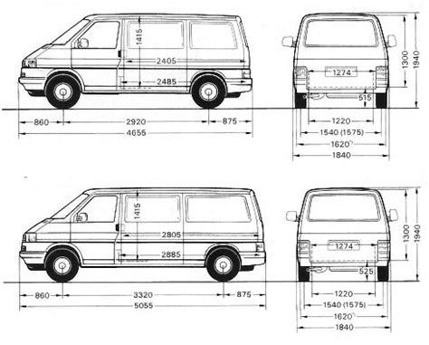 volkswagen caravelle dimensions dimensions du t4 t4zone