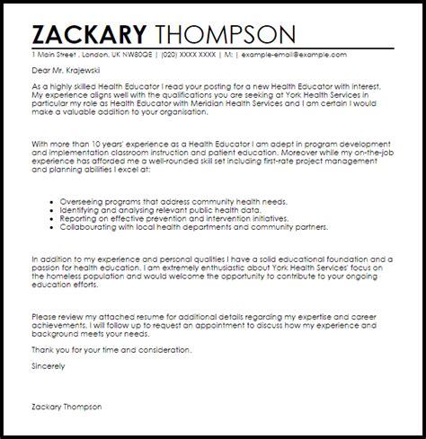 Health Educator Cover Letter Sample   LiveCareer