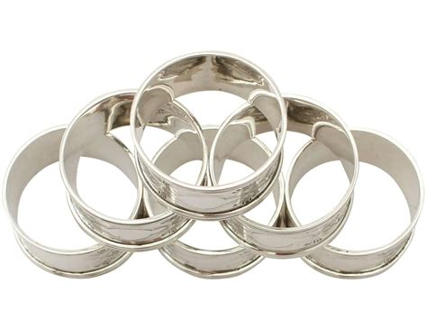 sterling silver napkin rings set of six antique george v