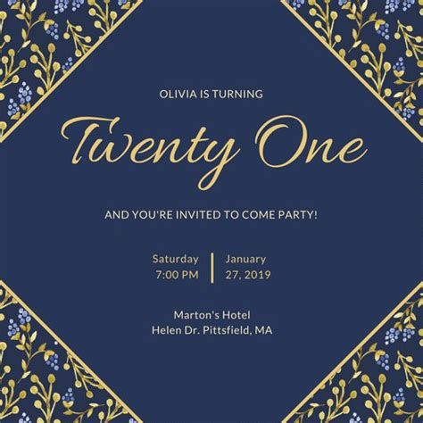 Templates For 21st Birthday Cards by Customize 556 21st Birthday Invitation Templates