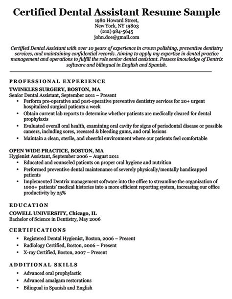 assistant resume templates downloads dental resume exles writing tips resume companion