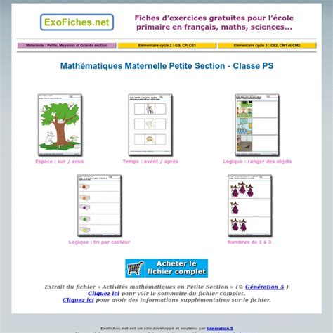 php section math 233 matiques maternelle petite section classe ps