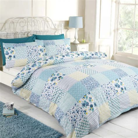 Blue Patchwork Duvet Cover - elsie blue patchwork duvet cover set tonys textiles