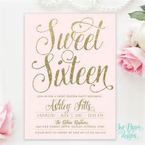 blush pink gold glitter sweet sixteen 16th birthday