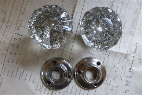 Glass Door Knobs With Backplates by One Pair Antique Glass Nickel Door Knobs Backplates