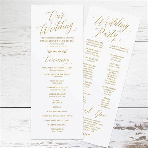 Wedding Program Template by Gold Wedding Programs Wedding Program Template Rustic