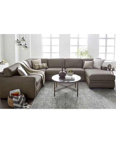Macys Sectional furniture avenell leather sectional and sofa collection