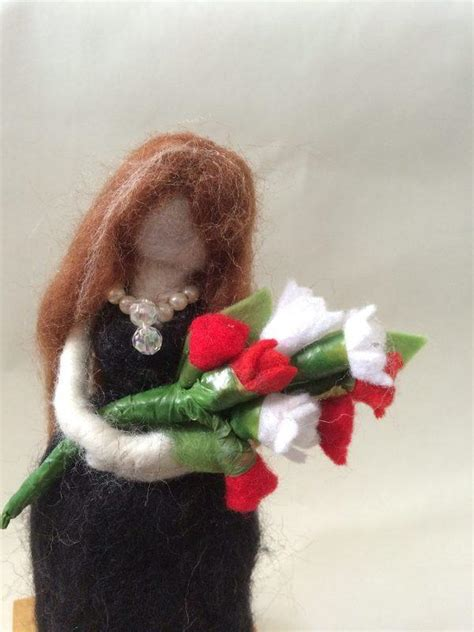 black doll ornament needle felted ornament doll black dress bunch of white