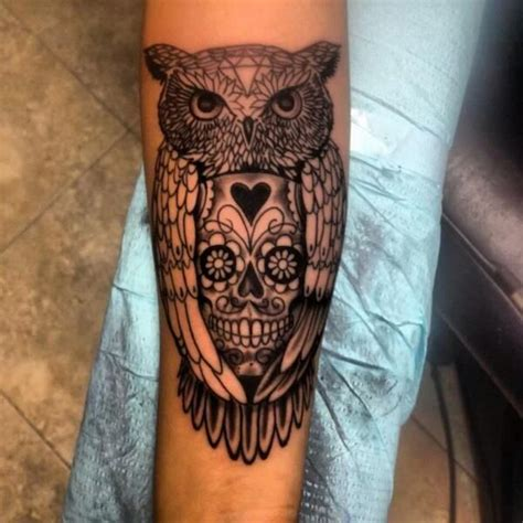 tattoo owl love loveee this tat so unique with the sugar skull inside the