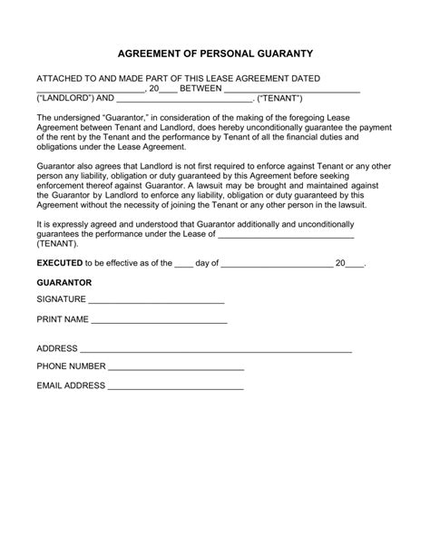 Guarantee Letter For Lease free real estate lease personal guarantee form pdf