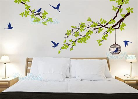 wall stickers birds vinyl wall decals tree birds wall decal wall by chinstudio