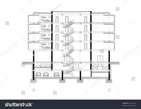drawing a section cad architectural five story building section stock