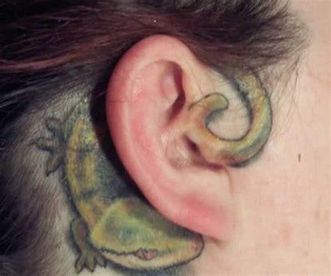 gecko tattoo behind ear 31 unique ear tattoos design and ideas