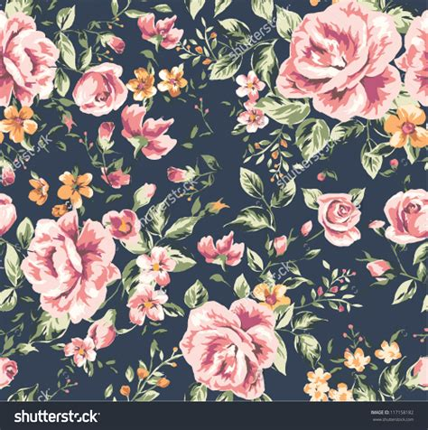 Vintage Flowers Pattern stock vector seamless vintage flower pattern on navy
