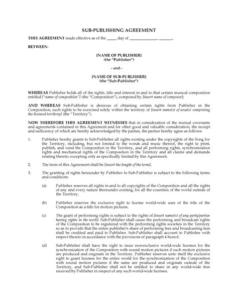 Music Sub Publishing Agreement Legal Forms And Business Templates Megadox Com Publishing Agreement Template