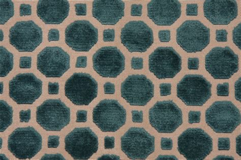 Robert Allen Upholstery Fabrics by Robert Allen Velvet Geo Upholstery Fabric In Turquoise