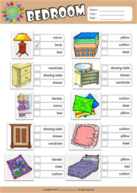 bedroom vocabulary english bedroom esl printable worksheets for 2