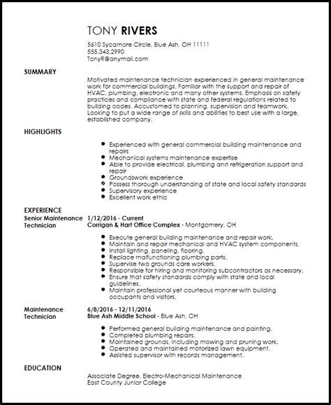 Maintenance Resume Template by Free Traditional Maintenance Technician Resume Template
