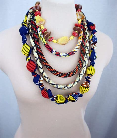 diy african rope necklace extra long wax print rope bead necklace e turner