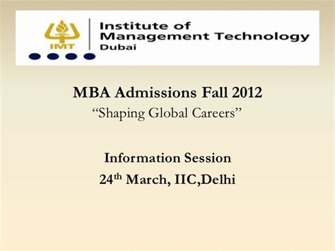 Dubai For Mba Hr by Imt Dubai Mba Program