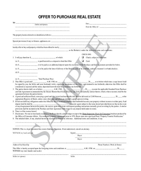 Sle Offer To Purchase Real Estate Form 7 Free Documents In Pdf Offer Contract Template
