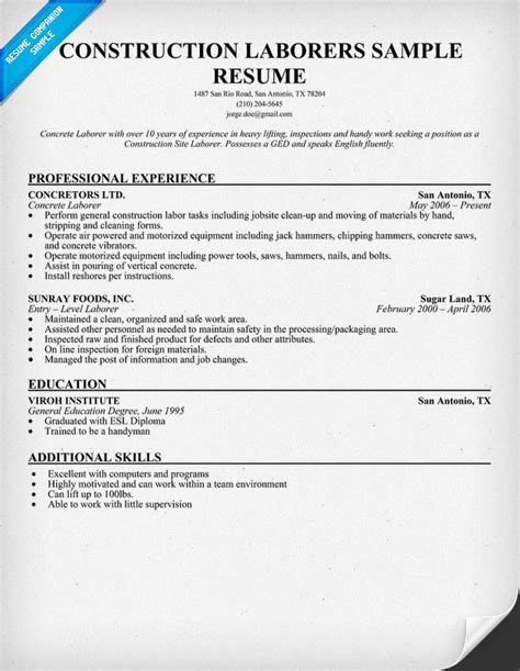 labor worker resume foodcity me