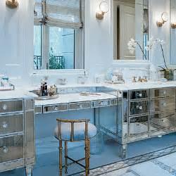 Mirrored Vanity Furniture At Cottage Bathroom