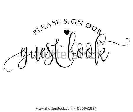 Romantic Wedding Word Art Sign Vector Stock Vector 685641994 Shutterstock Sign Our Guest Book Template