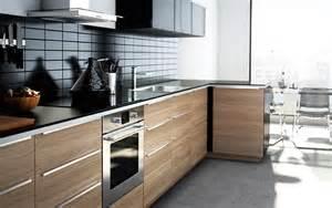 modern wood finish ikea kitchen with worktops