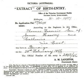 Full Birth Certificate Not Extract Meaning | birth certificate extract for thomas francis harvey