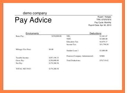 4 simple payslip template free salary slip