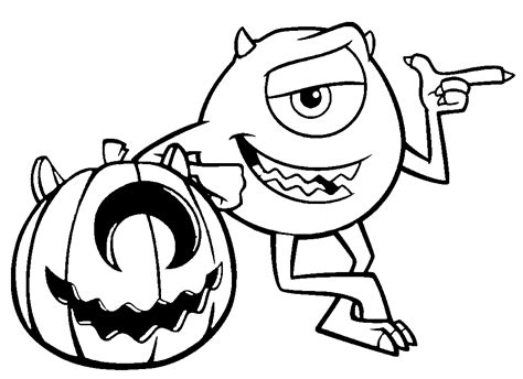 halloween coloring pages disney printable pumpkin and mike wazowski monsters inc coloring pages