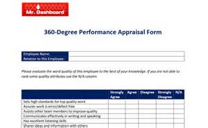 360 performance evaluation template 360 degree performance appraisal forms and exles mr