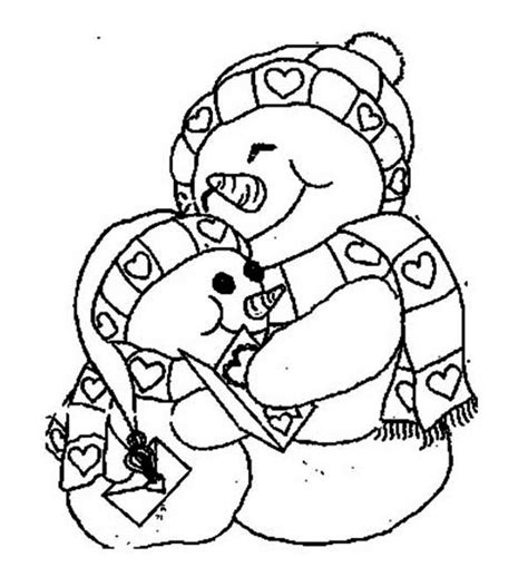 two snowman holding each other coloring page two snowman