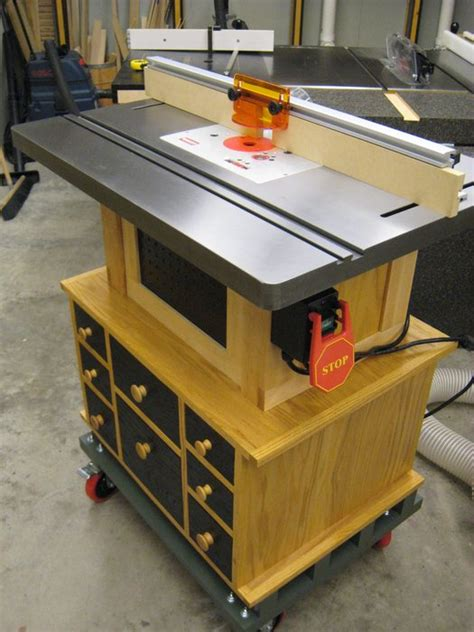 router table cabinet for bench cast iron router table