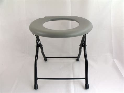 folding commode toilet chair steel portable camping seat