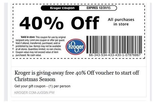 is the kroger coupon on facebook legit