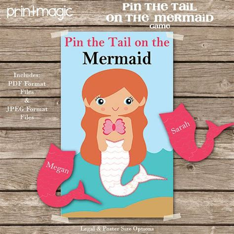 printable version of pin the tail on the donkey pin the tail on the mermaid printable party game mermaid