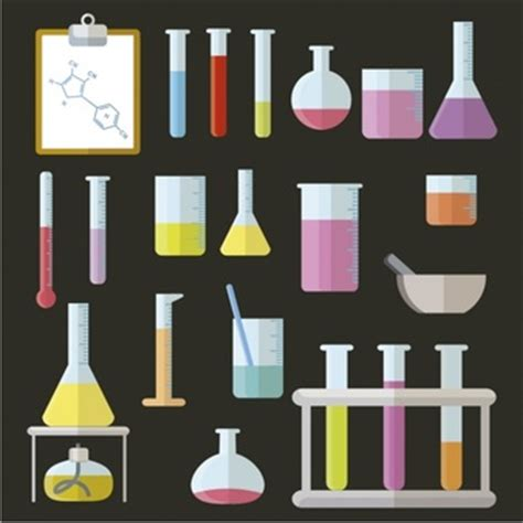 design elements lab test tube and flask for chemistry class icons free download