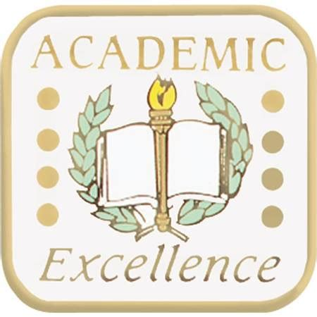 academic excellence award pin torch, laurel, and book