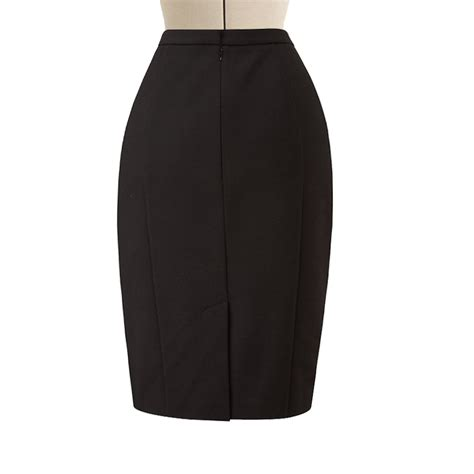 black and white pencil skirt with front wrap elizabeth s