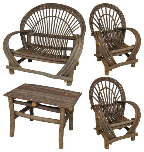 rustic twig furniture set with bark 4 rustic