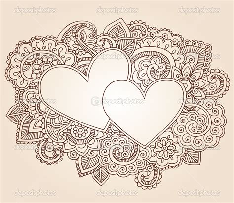 s day henna hearts doodles vector stock