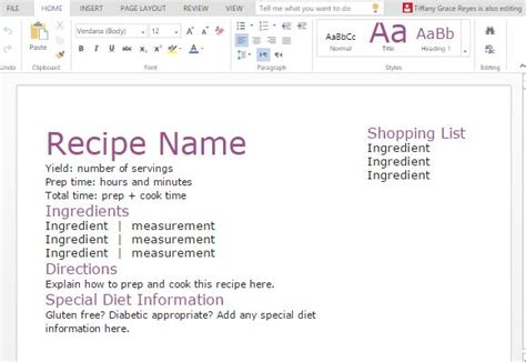Template For Recipes In Word by Recipe With Shopping List Template For Word