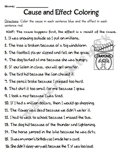 Cause And Effect Worksheets For Middle School by Cause And Effect Coloring I Would Reword The Hint