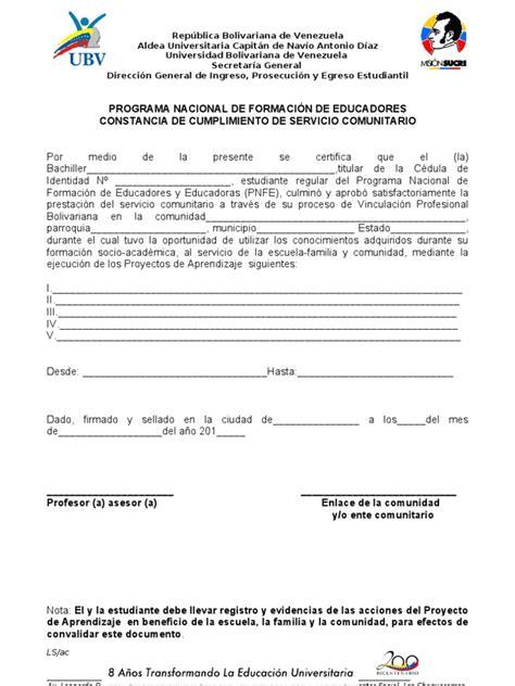 Carta De Culminacion De Servicio Comunitario formato servicio comunitario pnfe