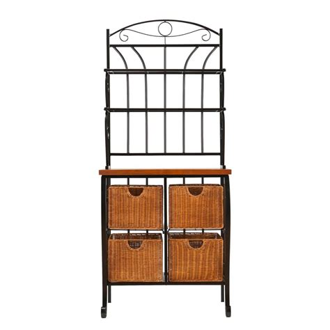 Bakers Rack With Storage by Sei Iron Wicker Baker S Rack Free Standing