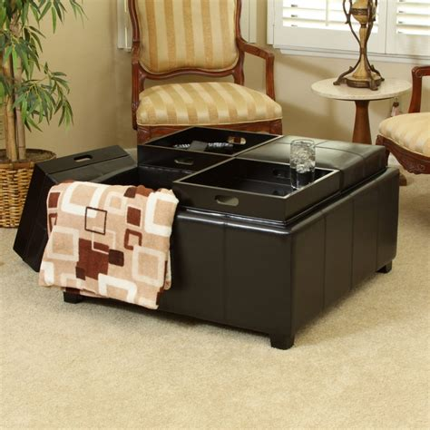 black leather ottoman with tray black round ottoman homepop round storage ottoman gray