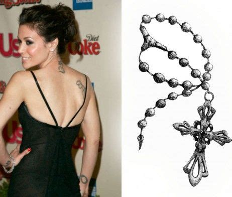 alyssa milano wrist tattoo charm cross rosary tattoos can be placed anywhere